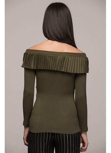 Cottonmood 7040415 Pliseli Uzun Kol Bluz Haki
